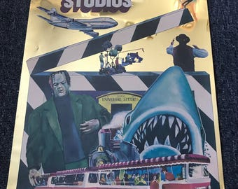 Very Rare 1978 Universal Studios Hollywood Tour Mylar Poster! JAWS! Airport '77! Frankenstein!