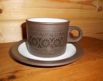 Tea Cup and Saucer, Hornsea Pottery, Palatine Design, Vintage Tea Cup and Saucer