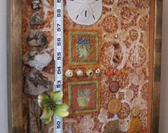 "Copper Penny,  15 x 12"" Original assemblage art, mixed media by Mary Bacon"