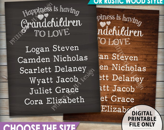 Grandchildren Sign with Names Personalized Grandkids Custom Gift for Grandparents Gift Grandma Grandpa, Choose Design PRINTABLE Digital File