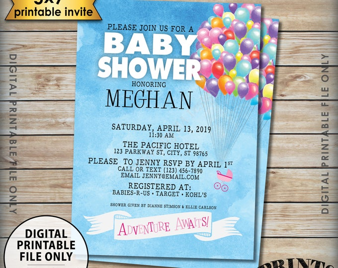 "Balloons Baby Shower Invitation, Balloons Adventure Awaits Invite, Up Baby Shower, It's a Girl, Watercolor Style 5x7"" Digital PRINTABLE File"