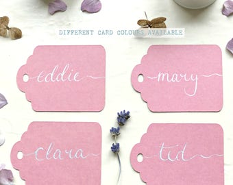 Pink Name Tags, Handwritten Scalloped Name Tags, Gift Tags, Place Cards, Wedding Calligraphy, Luggage Tag, Wedding Place Name Card