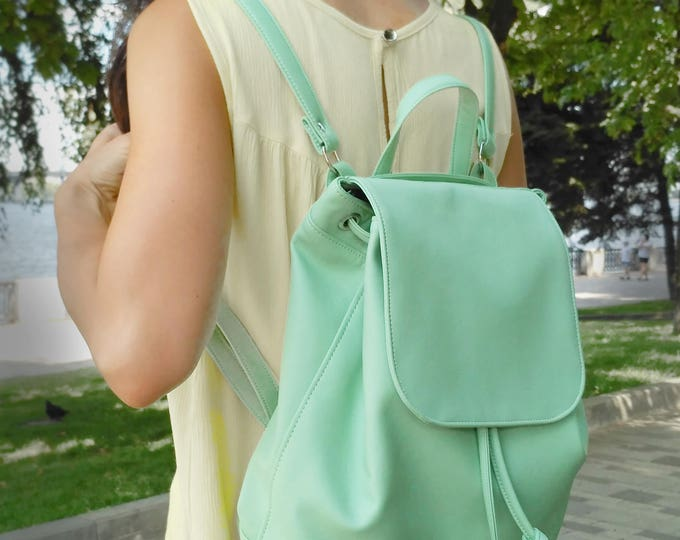Backpack mint green, Women backpack, Vegan leather bags, Gift for her, Moms backpack - walking bag