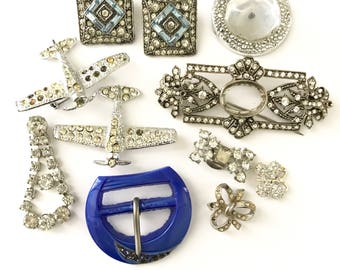 Vintage Rhinestone Crystal Jewelry Brooch Finding Lot, Broken Jewelry Lot for Assemblage, Rhinestone Assemblage