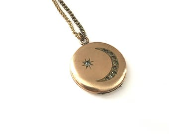 Vintage W&H Co. Crescent Moon and Star Locket