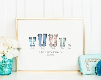 Family Established Sign, Welly Boot Print, Housewarming Gift, Family Wellies, Gift For Daughter, New Home Gift Ideas, Family Sign With Names
