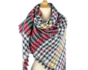 New Design Plaid Blanket Oversized Tartan Scarf Wrap Shawl Multi Color Checked Scarf