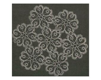 "Vintage Tatting Pattern for Heart Doily 9"" Diameter Size 30 Crochet Cotton PDF Download SKU 86-2"