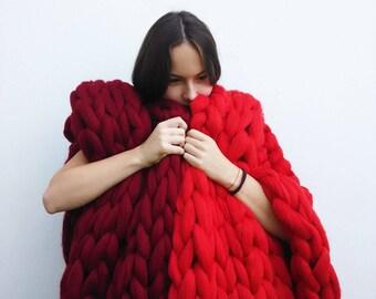 SALE super chunky large knit blanket Big giant yarn Merino wool