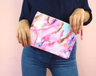 Hand painted clutch, clutch bag, bright clutch purse, clutch purse, bridesmaid clutch, bridesmaid purse, painted clutch bag, summer clutch