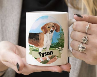 Beagle Custom Dog Mug - Get your dogs name on a mug - Dog Breed Mug - Great gift for dog owner - Beagle mug