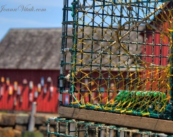 Rockport Ma lobster traps, wooden buoy,  Motiff #1,  Fishing Shack, Coastal Wall Art, Print or Canvas,Colorful Art, New England, Beach Decor