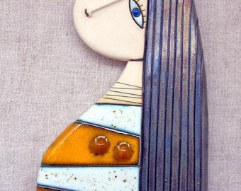 Original Handmade Ceramic Art Tile, Home Decor,Wall Art,Girl with yellow-white dress
