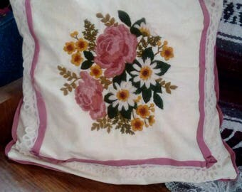 Handmade Vintage Needlepoint Pillow