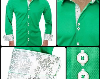 Green with White Moisture Wicking Dress Shirt - Made in USA