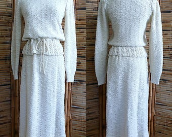 Vintage 1970s does 1940s Cream Knit Sweater and Skirt Set - Small/Medium