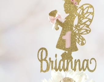 Fairy Cake Topper, ANY NAME AGE, Fairy Party Decor, Fairy Centerpiece Pick, Fairy Birthday Party Cake, Girl Birthday Party, Fairy Teddy Bear