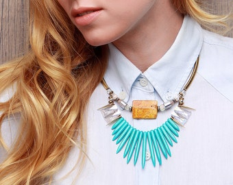 Blue statement necklace turquoise jewelry necklaces for women gift blue necklace stone jewelry statement boho jewelry necklace  blue yellow