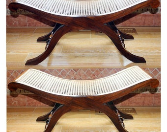 Pair of Vintage Baker Style Cane & Walnut Benches W/ 2 Custom Cushions Outstanding Condition
