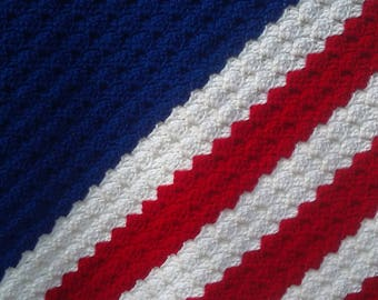 Handmade American Flag Blanket Soft Crochet Knit Blanket Throw Blanket Chunky Baby Nursery Baby Shower Gift Handmade Ready to Ship