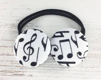 Musical notes hair ties, music hair clip, music teacher gift, music notes hair accessory, piano recital gift, musical notes hair elastic