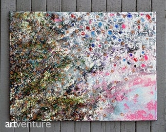 24x18 Original abstract painting - green pink blue bronze abstract painting on canvas, colorful wall art, one of a kind, textured painting