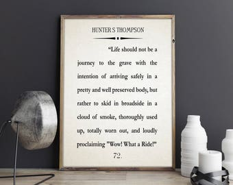 Hunter S Thompson Quote Large Book Wall Art Literary Quote Literary Poster Literature Quote Book Wall Art Book Poster The Proud Highway Book