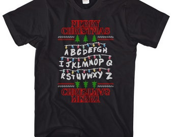 Merry Christmas Stranger Alphabet T-shirt, Demogorgon Will Dustin Shirt The Upside Down World Things Eleven TV Show inspired Xmas L150