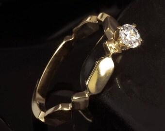 Diamond Engagement Ring, Dainty Engagement Ring, Diamond Gold Ring, 14K Gold Engagement Ring, Delicate Diamond Ring, Unique ring, RG-1177