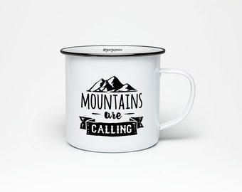 Mountains Are Calling | 10 oz Stainless Steel Camping Mug | Camping Coffee Mug | Adventure Saying Mug | Mountains Are Calling Camp Mug