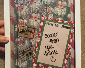 "Days to Christmas Countdown Dry Erase Picture Frame | 8"" x 10"" Frame | Vintage Christmas | Vintage Santa"