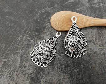 2 pcs, Chandelier drop, drop, ethnic Chandelier, silver, Metal connector 38 x 22 mm