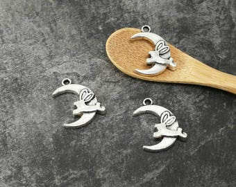 Pendant Moon and rabbit, silver, 22 x 17 mm Moon charms