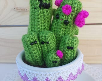 family cactus medium crochet flowers