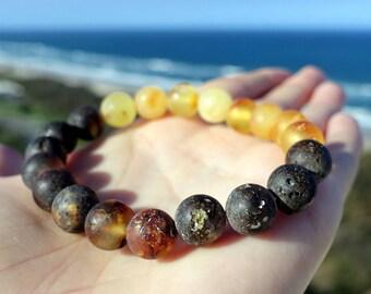 Amber Bracelet, Unpolished Amber Bracelet, Organic Raw Amber Jewelry