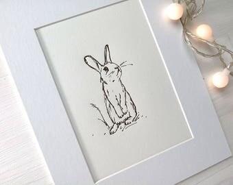 Rabbit Art Print, letterpress wall art, nursery print, 8 X 10 art, baby room decor, nursery decoration, letterpress print, bunny art