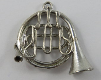 French Horn Sterling Silver Vintage Charm For Bracelet