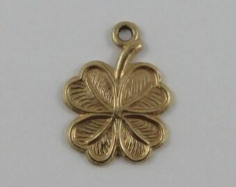 Four Leaf Clover 9K Gold Vintage Charm For Bracelet