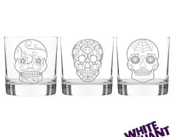 Sugar Skull 3 Tumbler/High-Ball/Pint Glass Gift Set