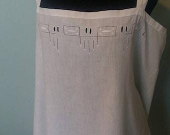 1920s slip dress, Original vintage Deco style white cotton strappy under dress chemise size collectors vintage dress petticoat small medium