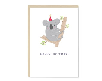 Koala Card - Happy Birthday - Illustration - Blank Inside - A6 Card