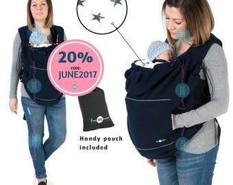 Babywearing cover, Polar fleece cover for carriers, Baby carrier cover NAVY/STARS
