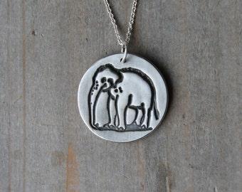 Elephant fine silver pendant