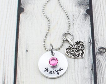 Personalized Necklace for Girls - Girls Name Jewelry - Hand Stamped Girls Necklace - Personalized Jewelry - Christmas Gift for Girl