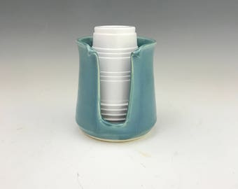 Gloss Turquoise Kitchen Cup Holder -5 Ounce Cup Dispenser - Pottery Cup Holder - Ceramic Kitchen Cup Holder - Handmade