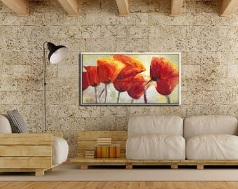 Nature Home Decor, Painting Oil, Canvas Painting, Wall Art Flowers, Canvas Art Large, Painting Poppy, Living Room Art, Flower Art