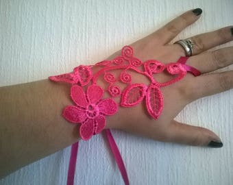 hot pink lace flower ceremony wedding Bridal Gloves party holiday pair