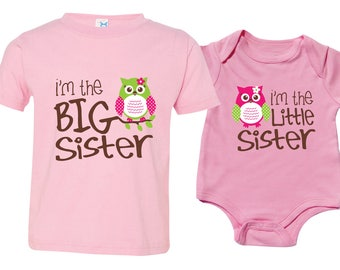 Big Sister Little Sister Shirt set of 2, Sibling Shirts, Owl I'm the Big Sister, Owl I'm the Little Sister, MKOSib
