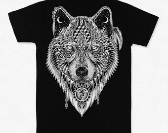 Black Wolf Totem T-shirt Backprint w/Pocket Print- Organic Cotton Spirit Animal, Native american guide.