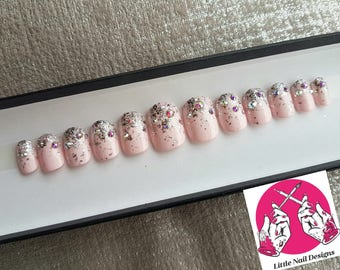 Bridal | Wedding | Prom | Pink Glitter Swarovski Crystals Hand Painted False Nails | Little Nail Designs